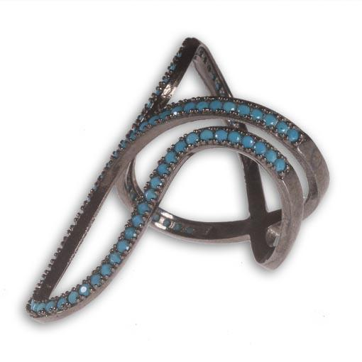 Rhodium Plated Silver Long Ring With Turquoise Cubic Zirconia - Anthos Crafts