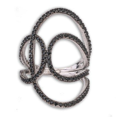 Silver Long Ring With Black Cubic Zirconia - Anthos Crafts