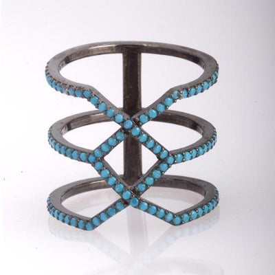 Rhodium Plated Silver Long Geometrical Ring WithTurquoise Cubic Zirconia - Anthos Crafts