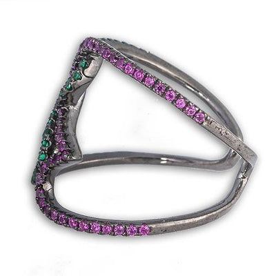 Rhodium Plated Silver Ring With Purple and Green Cubic Zirconia - Anthos Crafts