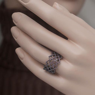 Rhodium Plated Silver Ring With Brown Cubic Zirconia - Anthos Crafts