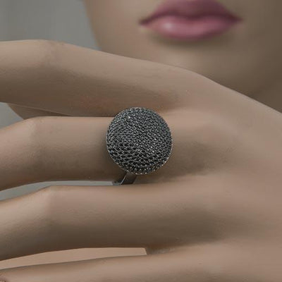 Rhodium Plated Silver Ring With Shimmering Black Cubic Zirconia - Anthos Crafts