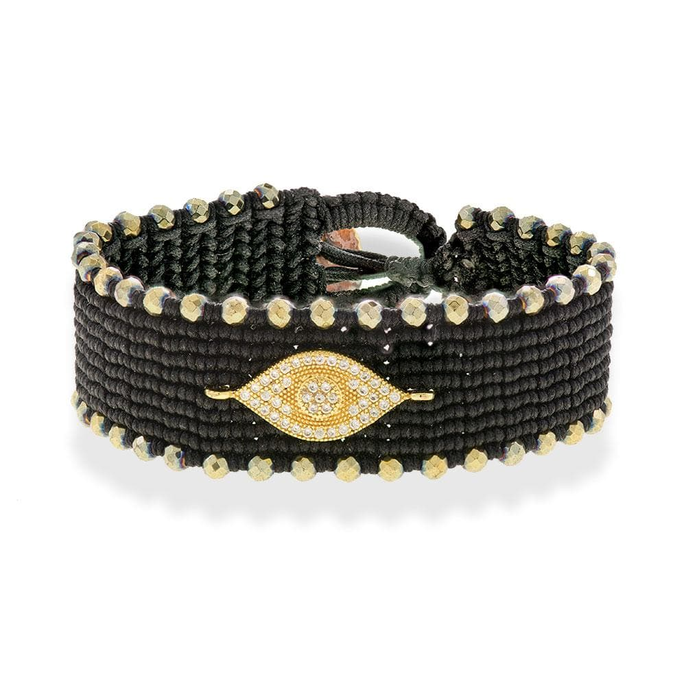 Handmade Macrame Black Gold Evil Eye Zirconia Bracelet - Anthos Crafts