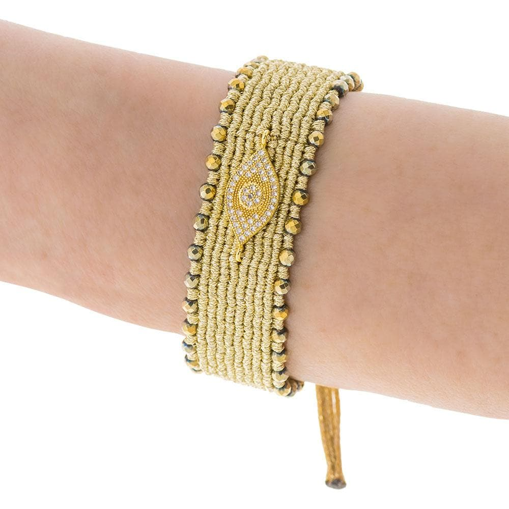 Handmade Macrame Gold Evil Eye Zirconia Bracelet - Anthos Crafts