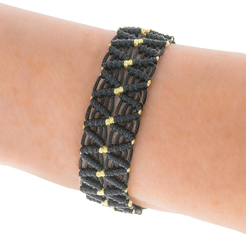 Handmade Macrame Black Gold Bracelet - Anthos Crafts