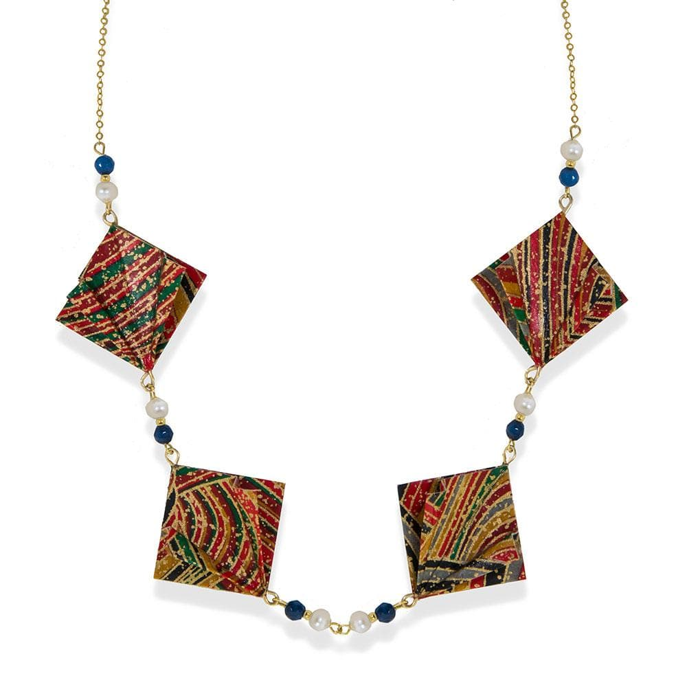 Handmade Gold Plated Silver Multicolor Origami Short Necklace With Gemstones - Anthos Crafts