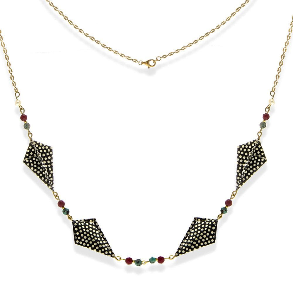 Handmade Gold Plated Silver Black & White Origami Long Necklace With Gemstones - Anthos Crafts