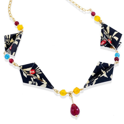 Handmade Gold Plated Silver Black Gold Diamond Origami Long Necklace With Gemstones - Anthos Crafts