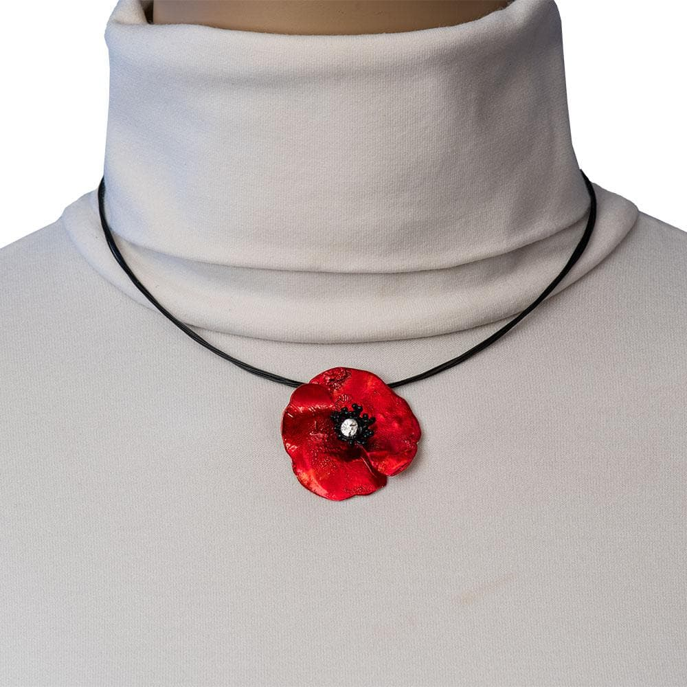 Handmade Silver Impressive Red Poppy Short Choker Necklace - Anthos Crafts