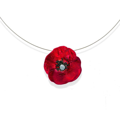 Handmade Silver Red Poppy Short Choker Necklace - Anthos Crafts