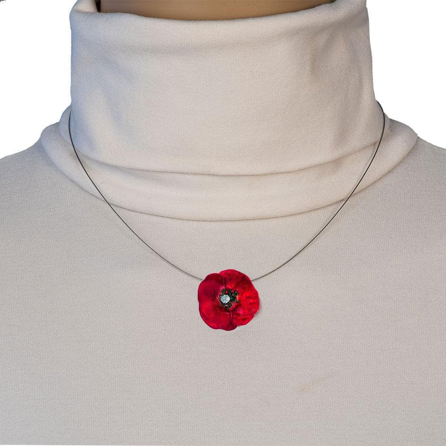 Handmade Silver Red Poppy Short Choker Necklace