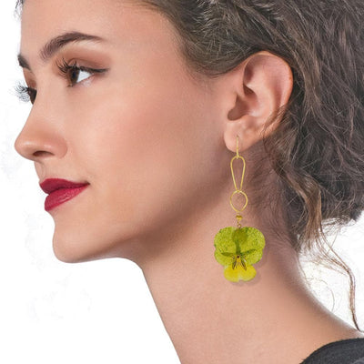 Handmade Gold Plated Silver Green Pansy Dangle Earrings With Swarovski Stones - Anthos Crafts