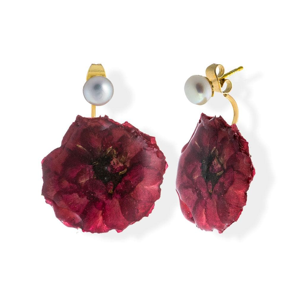 Handmade Gold Plated Silver Wild Rose Flower Drop Earrings With Pearls - Anthos Crafts
