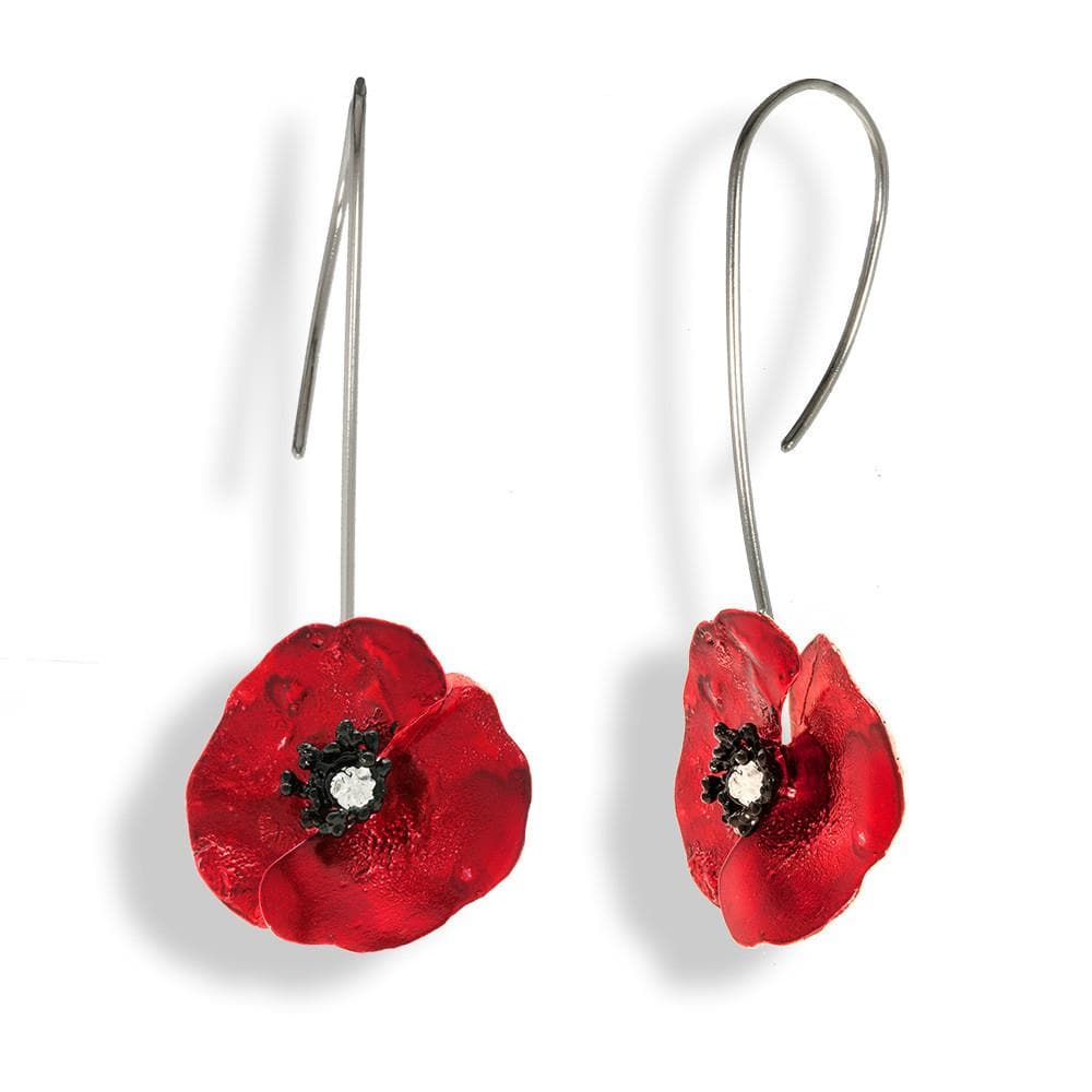 Handmade Sterling Silver Red Poppy Flower Drop Earrings - Anthos Crafts