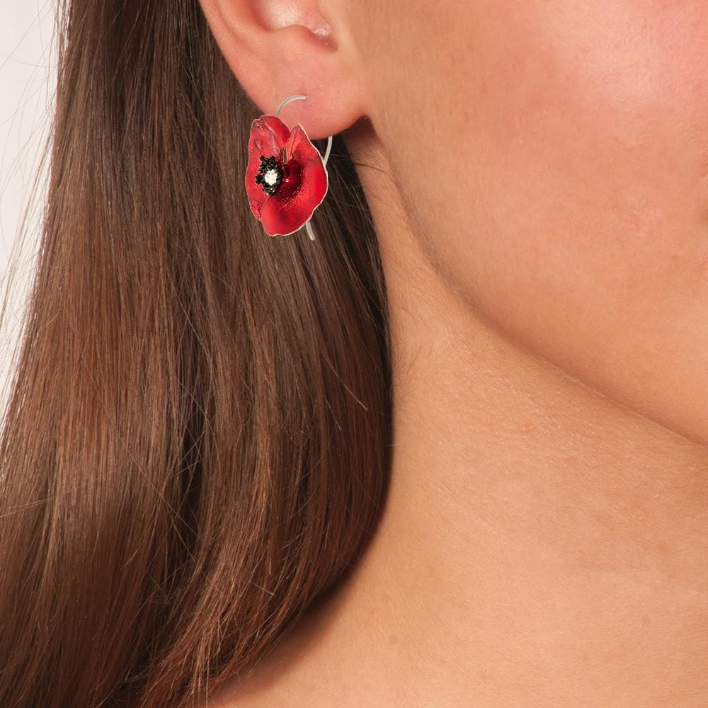 Handmade Sterling Silver Red Poppy Flower Dangle Earrings - Anthos Crafts