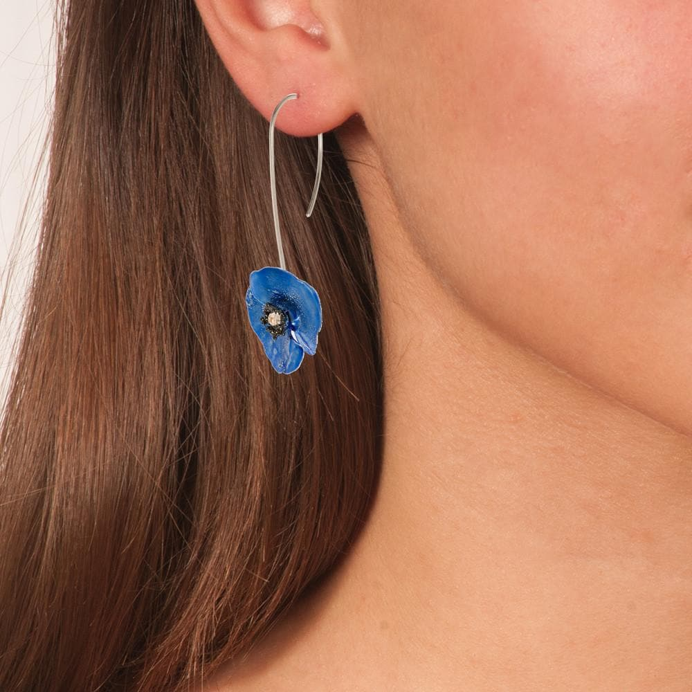 Handmade Sterling Silver Sky Blue Poppy Flower Drop Earrings - Anthos Crafts