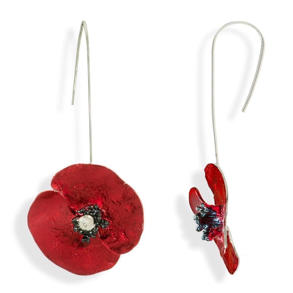 Handmade Sterling Silver Red Poppy Flower Impressive Drop Earrings - Anthos Crafts