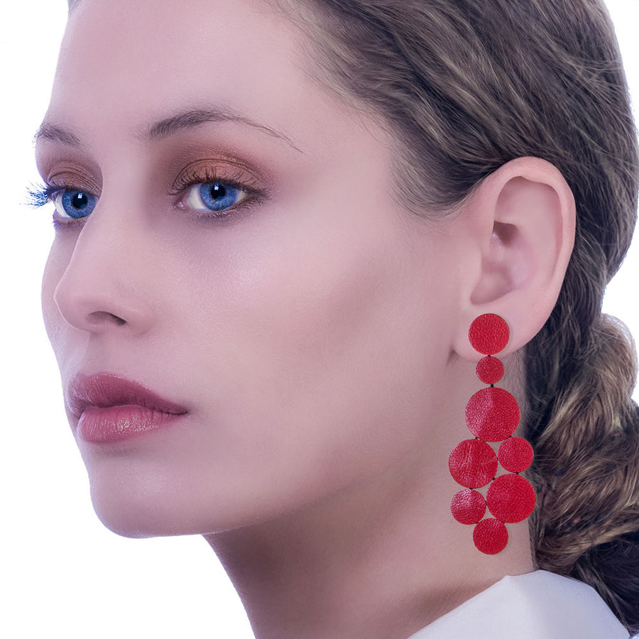 Handmade Leather Light Green Sparkling Long Dangle Earrings - Anthos Crafts