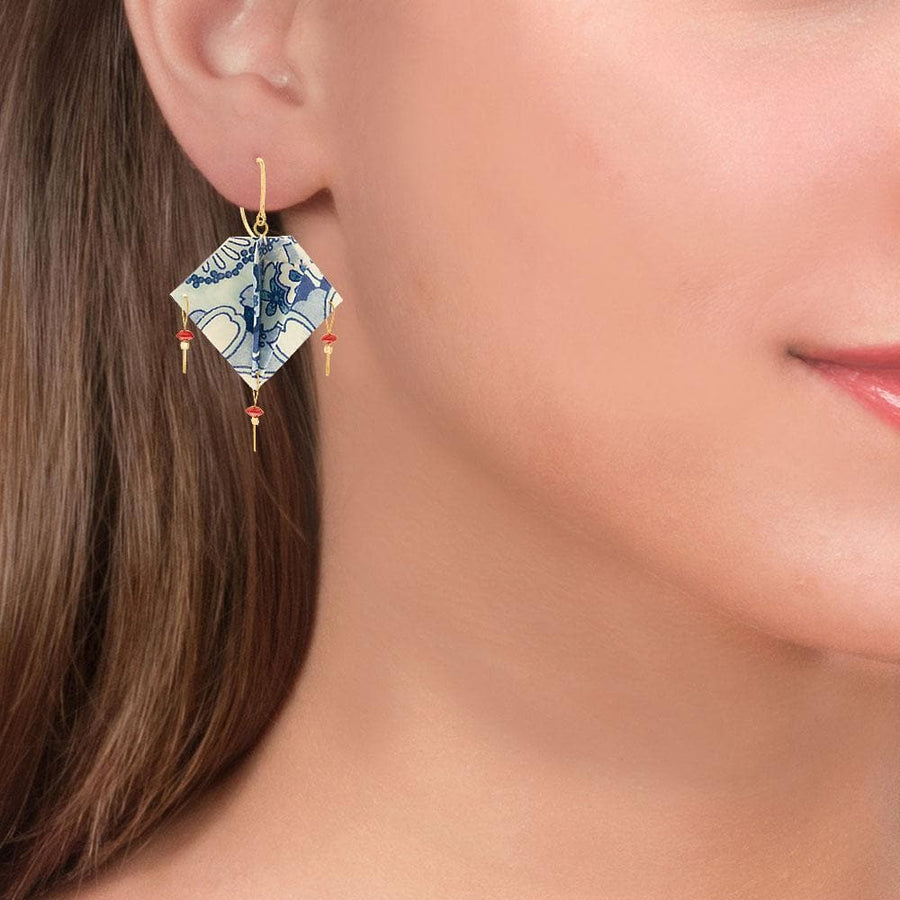 Handmade Gold Plated Silver Blue Silkpaper Earrings With Corals - Anthos Crafts