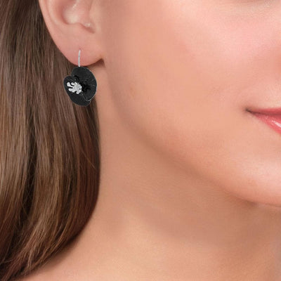 Handmade Sterling Silver Black Poppy Flower Dangle Earrings - Anthos Crafts