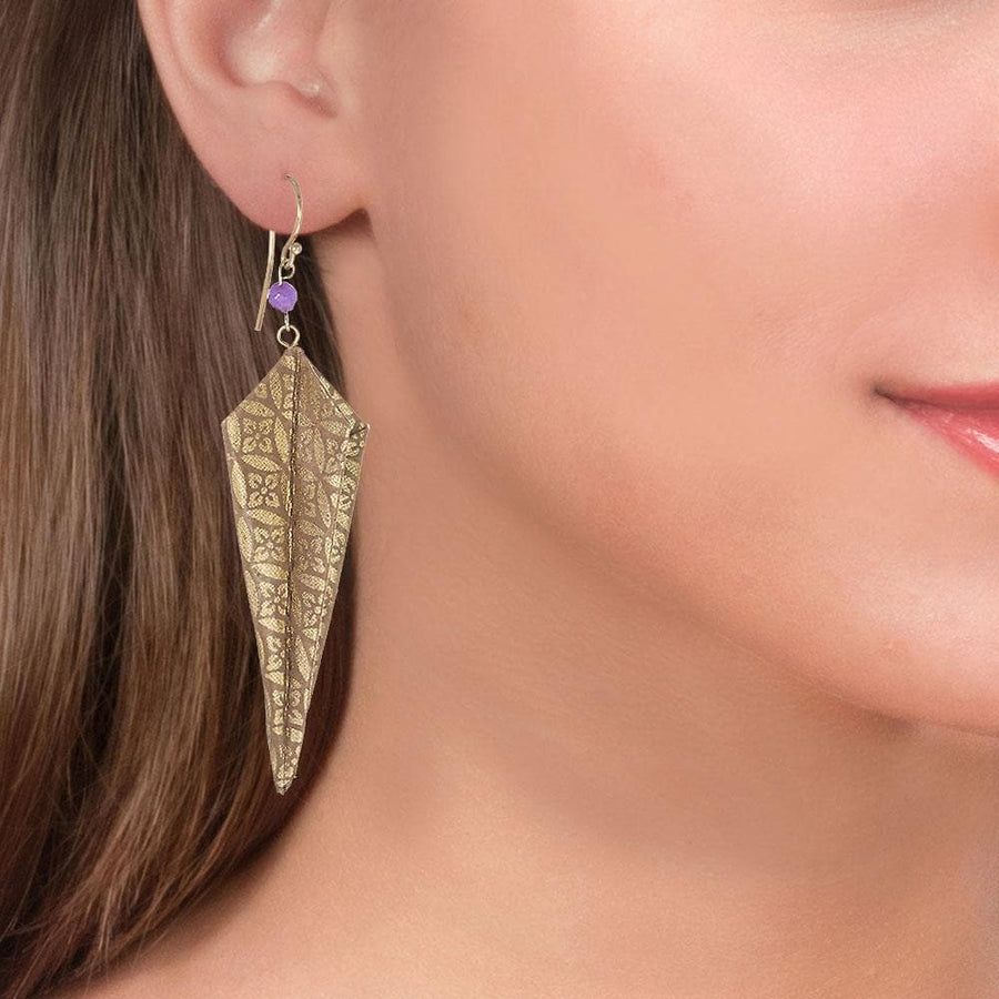 Handmade Gold Plated Silver Gold Origami Earrings With Gemstones - Anthos Crafts