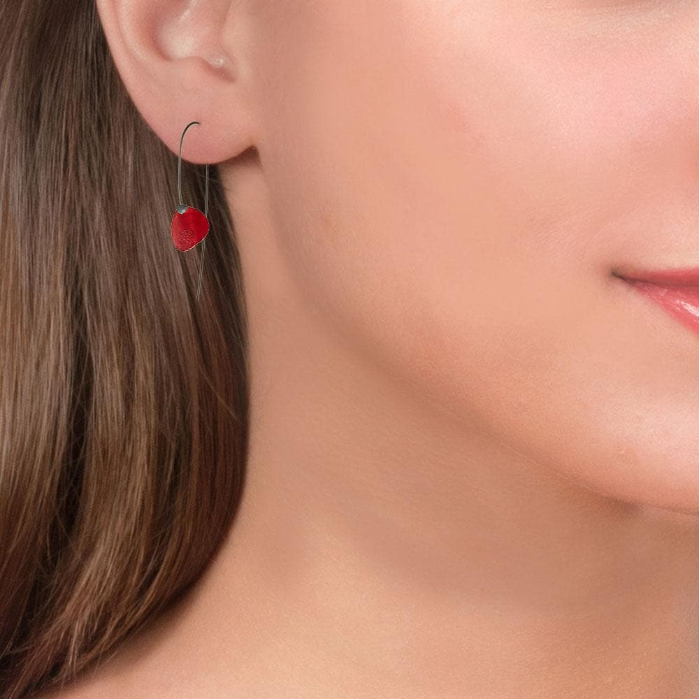 Handmade Black Silver Red Small Flower Drop Earrings - Anthos Crafts