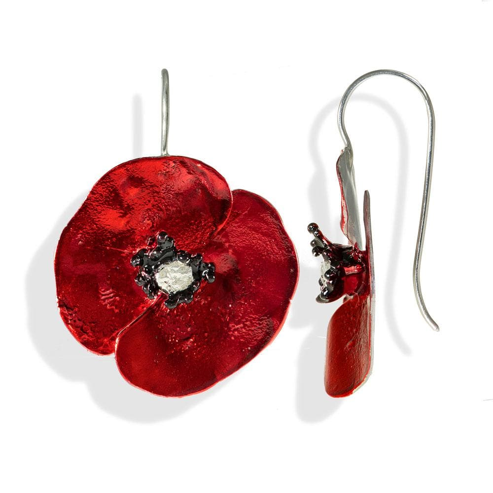 Handmade Sterling Silver Red Poppy Flower Impressive Short Drop Earrings - Anthos Crafts