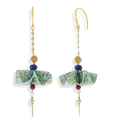Handmade Gold Plated Silver Light Green Gold Origami Umbrella Earrings With Gemstones - Anthos Crafts