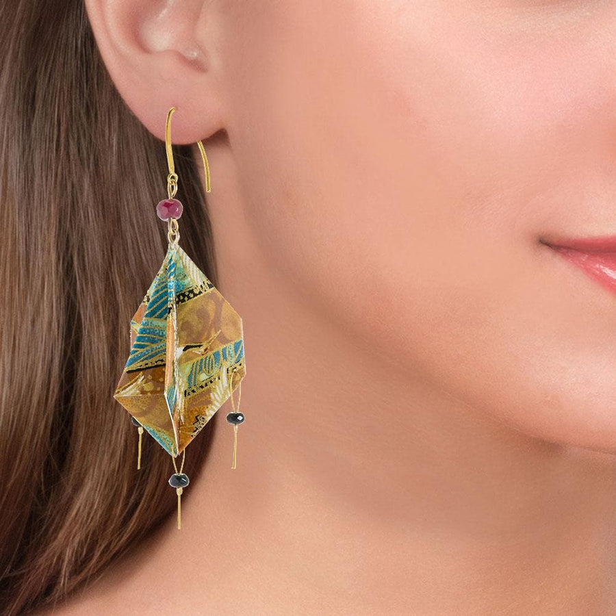Handmade Gold Plated Silver Beige Green Origami Earrings With Gemstones - Anthos Crafts