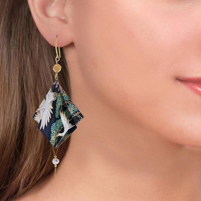 Handmade Gold Plated Silver Black Green Origami Earrings With Gemstones - Anthos Crafts