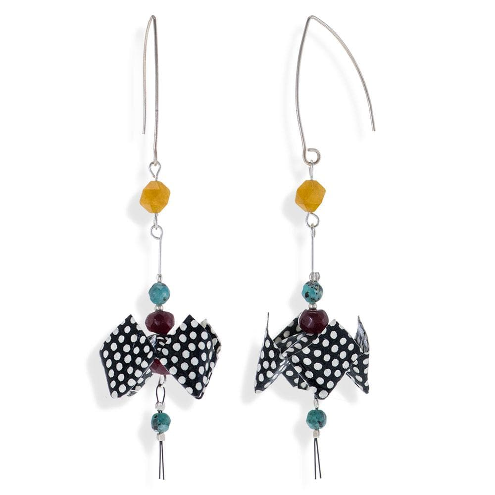 Handmade Silver Black & White Origami Earrings With Gemstones - Anthos Crafts