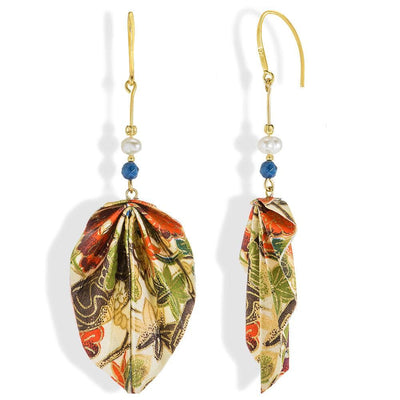 Handmade Gold Plated Silver Multicolor Origami Earrings Leaves With Gemstones - Anthos Crafts