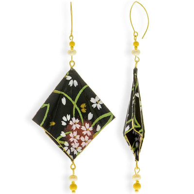 Handmade Gold Plated Silver Black Red & White Kimono Origami Earrings With Gemstones - Anthos Crafts