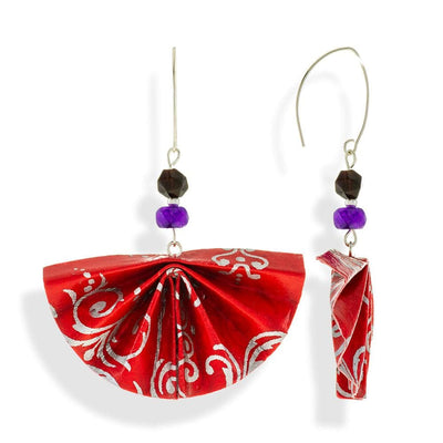 Handmade Silver Red Fan Origami Earrings With Gemstones - Anthos Crafts