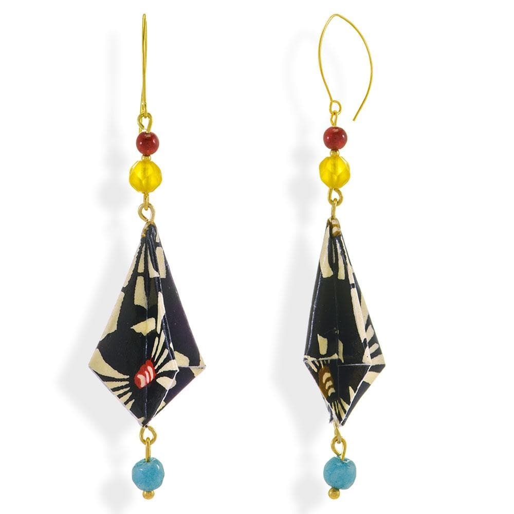 Handmade Gold Plated Silver B&W Origami Earrings Diamonds With Gemstones - Anthos Crafts