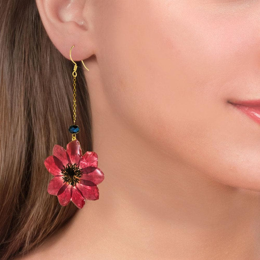 Handmade Gold Plated Silver Wild Anemone Dangle Earrings With Swarovski Stones - Anthos Crafts