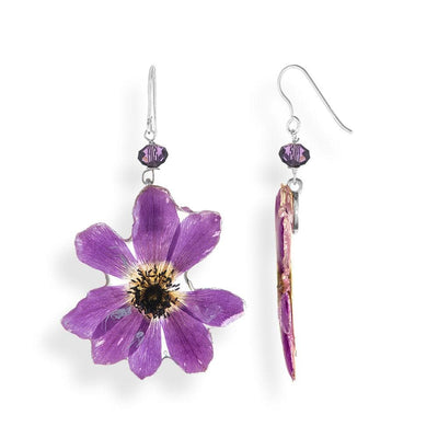 Handmade Silver Anemone Dangle Earrings With Swarovski Stones - Anthos Crafts