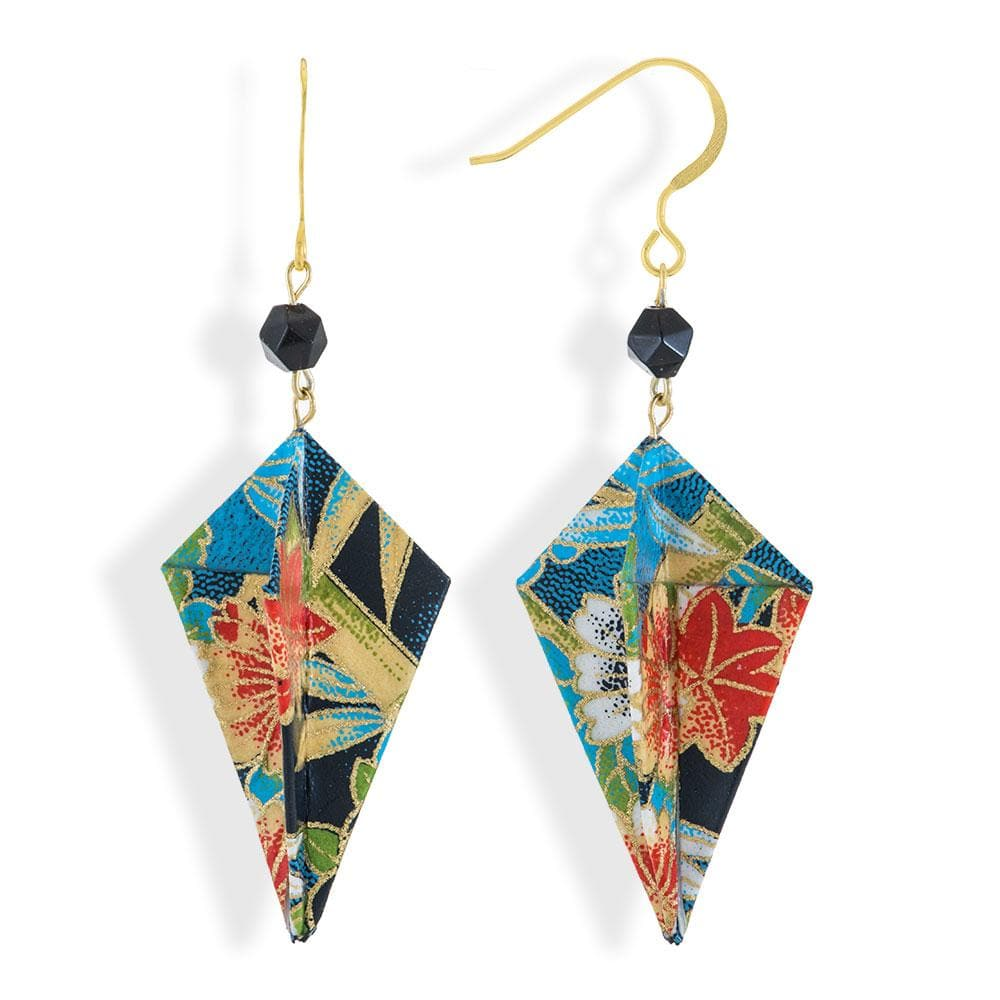 Handmade Gold Plated Silver Multicolor Origami Earrings Diamonds With Gemstones - Anthos Crafts