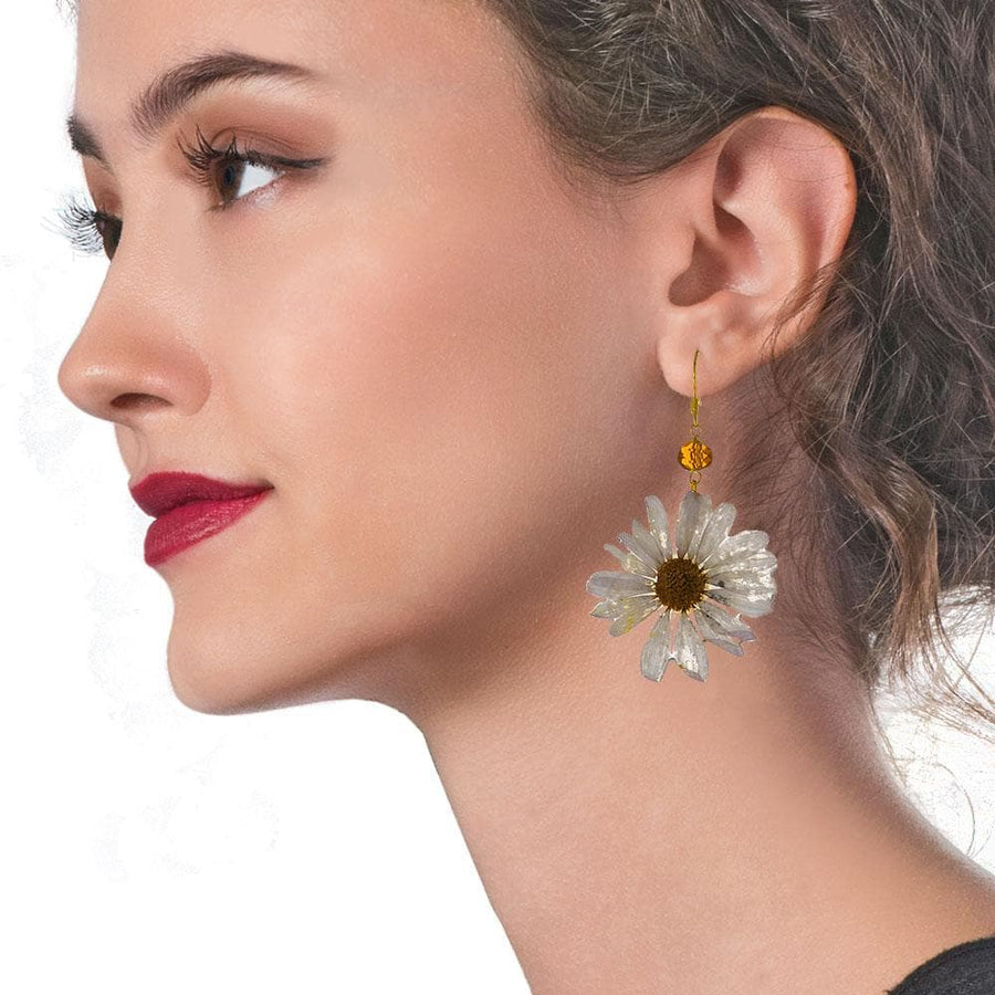 Handmade Gold Plated Silver White Daisy Dangle Earrings With Swarovski Stones - Anthos Crafts