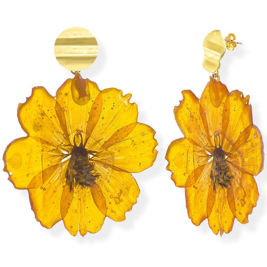 Handmade Gold Plated Silver Orange Daisy Dangle Earrings With Swarovski Stones - Anthos Crafts