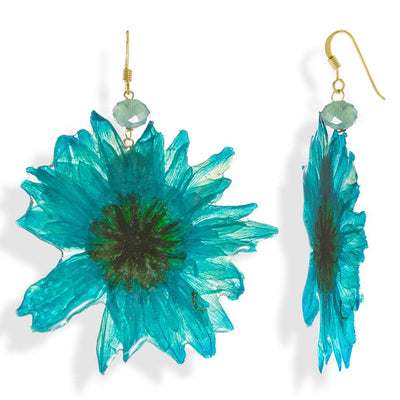 Handmade Gold Plated Silver Turquoise Daisy Dangle Earrings With Swarovski Stones - Anthos Crafts