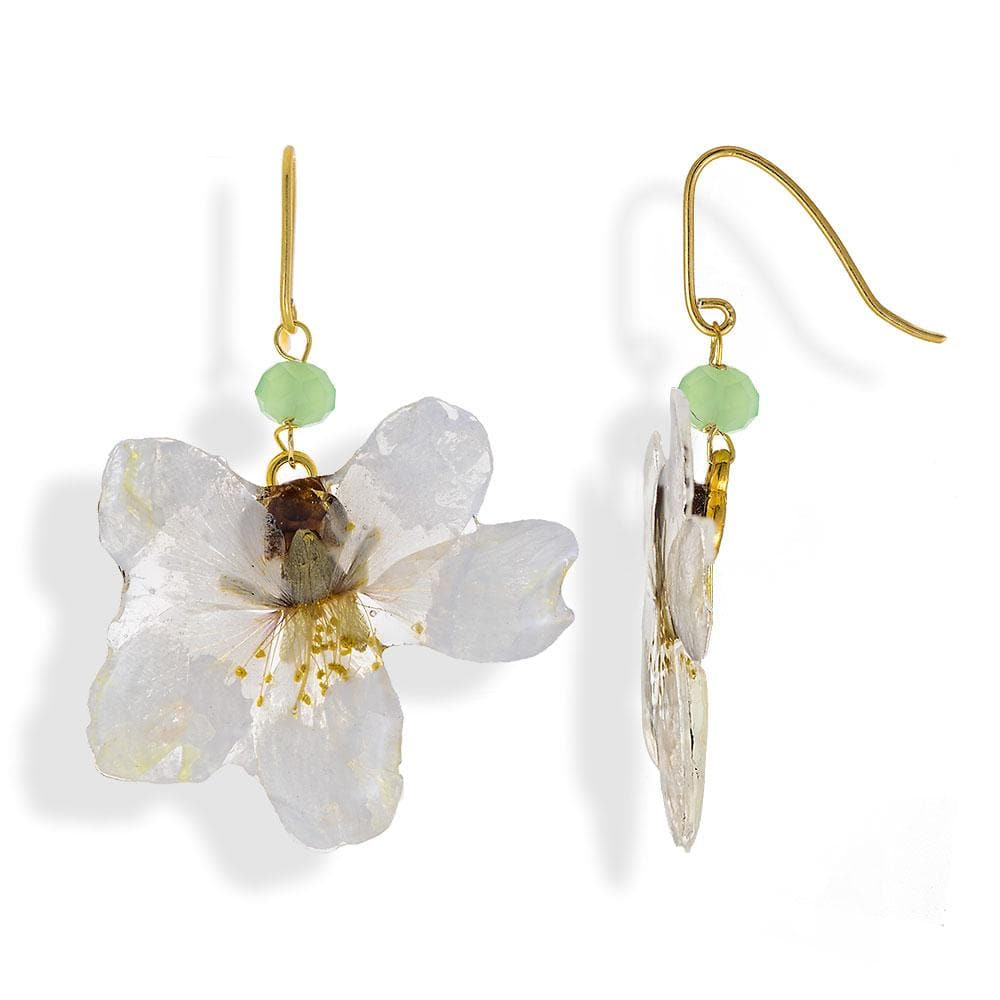 Handmade Gold Plated Silver Almond Petals Dangle Earrings With Swarovski Stones - Anthos Crafts