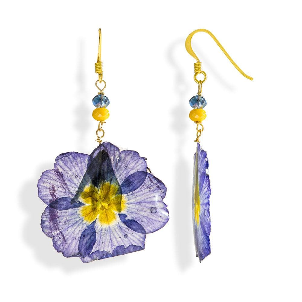 Handmade Gold Plated Silver Purple Primrose Dangle Earrings With Swarovski Stones - Anthos Crafts