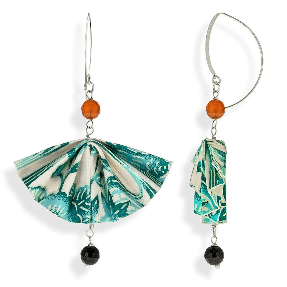 Handmade Silver Turquoise White Fan Origami Earrings With Gemstones - Anthos Crafts