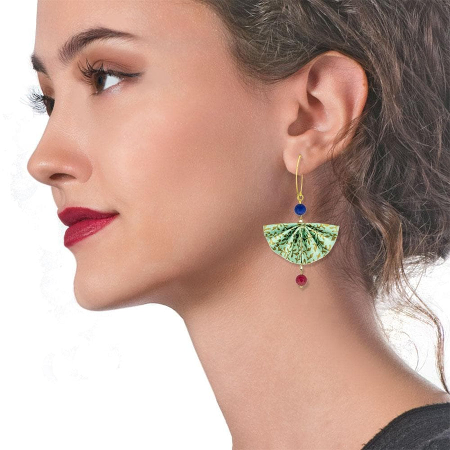 Handmade Gold Plated Silver Light Green Fan Origami Earrings With Gemstones - Anthos Crafts