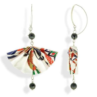 Handmade Silver Multicolor Fan Origami Earrings With Gemstones - Anthos Crafts