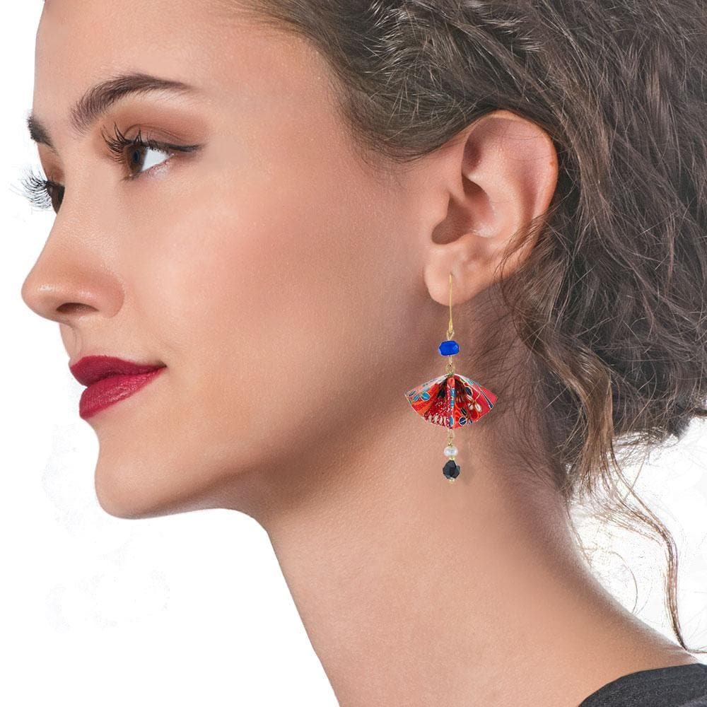 Handmade Gold Plated Silver Red Blue Origami Fan Dangle Earrings With Gemstones - Anthos Crafts