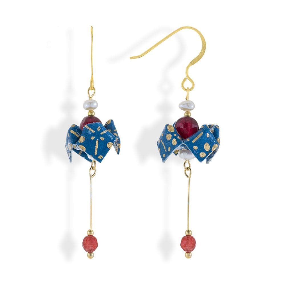 Handmade Gold Plated Silver Blue Origami Bell Flower Earrings With Gemstones - Anthos Crafts
