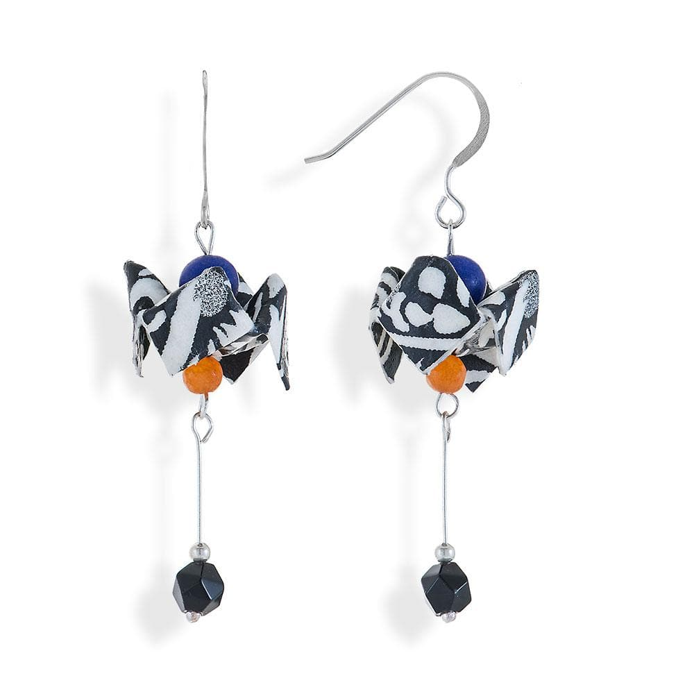 Handmade Silver B&W Bell Flower Earrings With Gemstones - Anthos Crafts