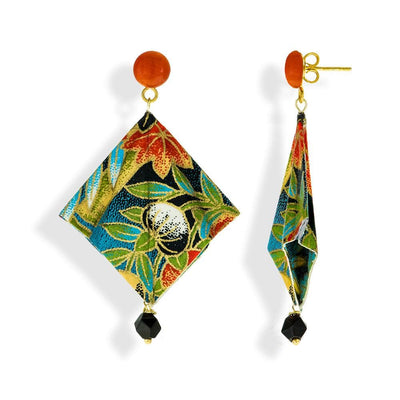 Handmade Gold Plated Silver Multicolor Mantra Origami Earrings With Gemstones - Anthos Crafts